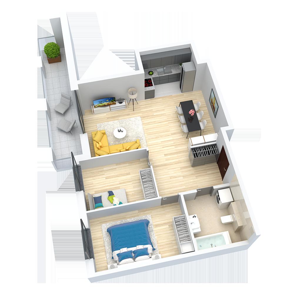 wizualizacja mieszkania numer 63