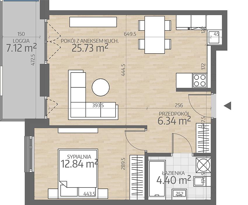 rzut mieszkania numer 64