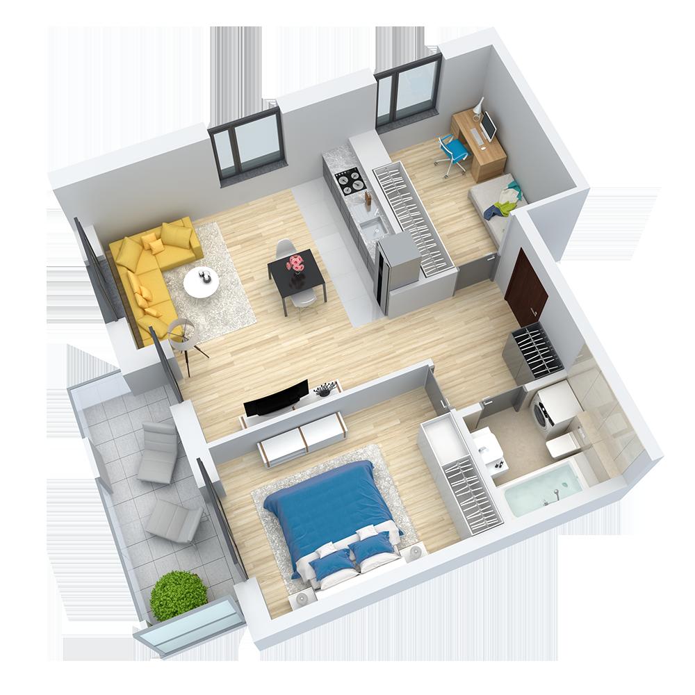 wizualizacja mieszkania numer 65