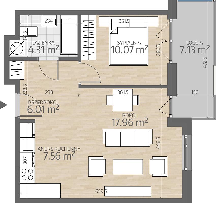 rzut mieszkania numer 67