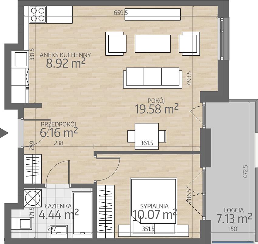 rzut mieszkania numer 68