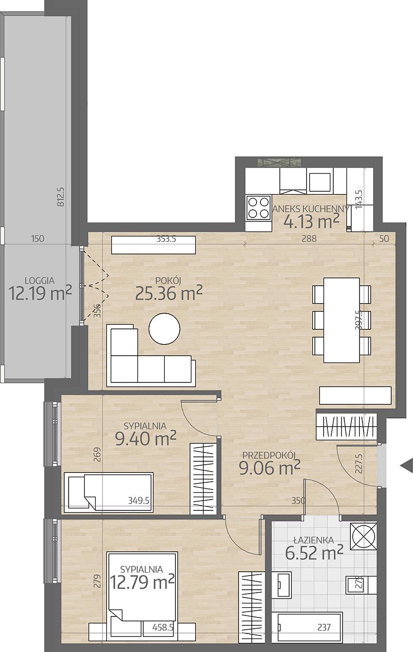rzut mieszkania numer 72