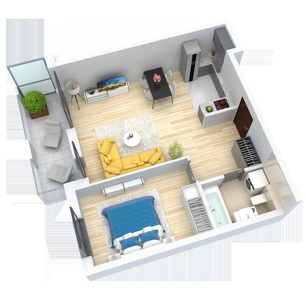 wizualizacja mieszkania numer 73