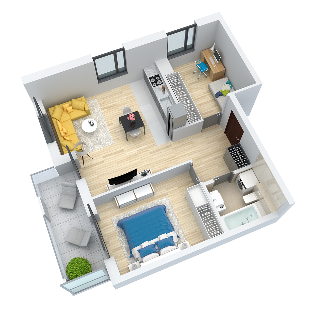 wizualizacja mieszkania numer 74