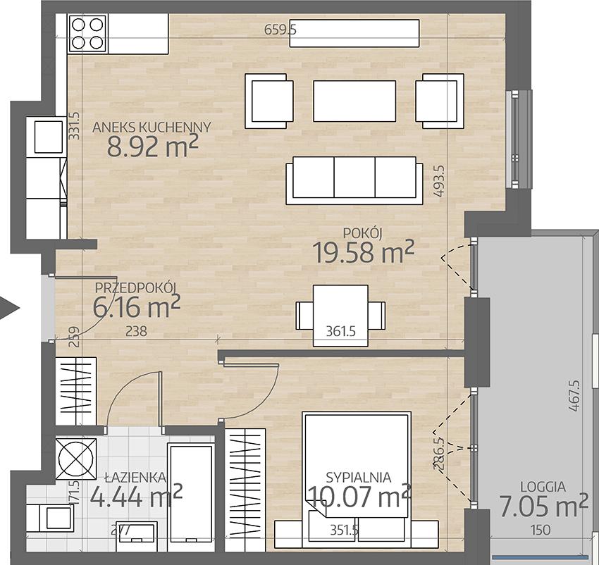 rzut mieszkania numer 77