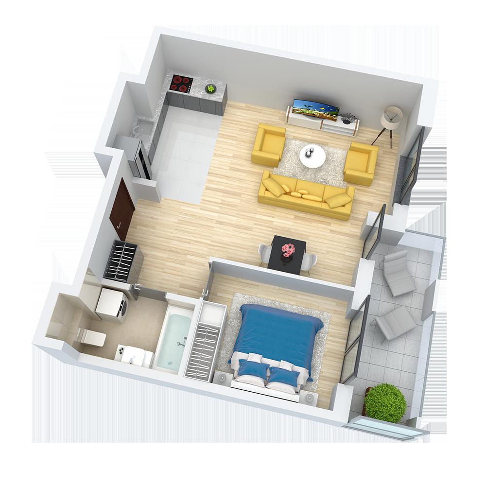 wizualizacja mieszkania numer 77