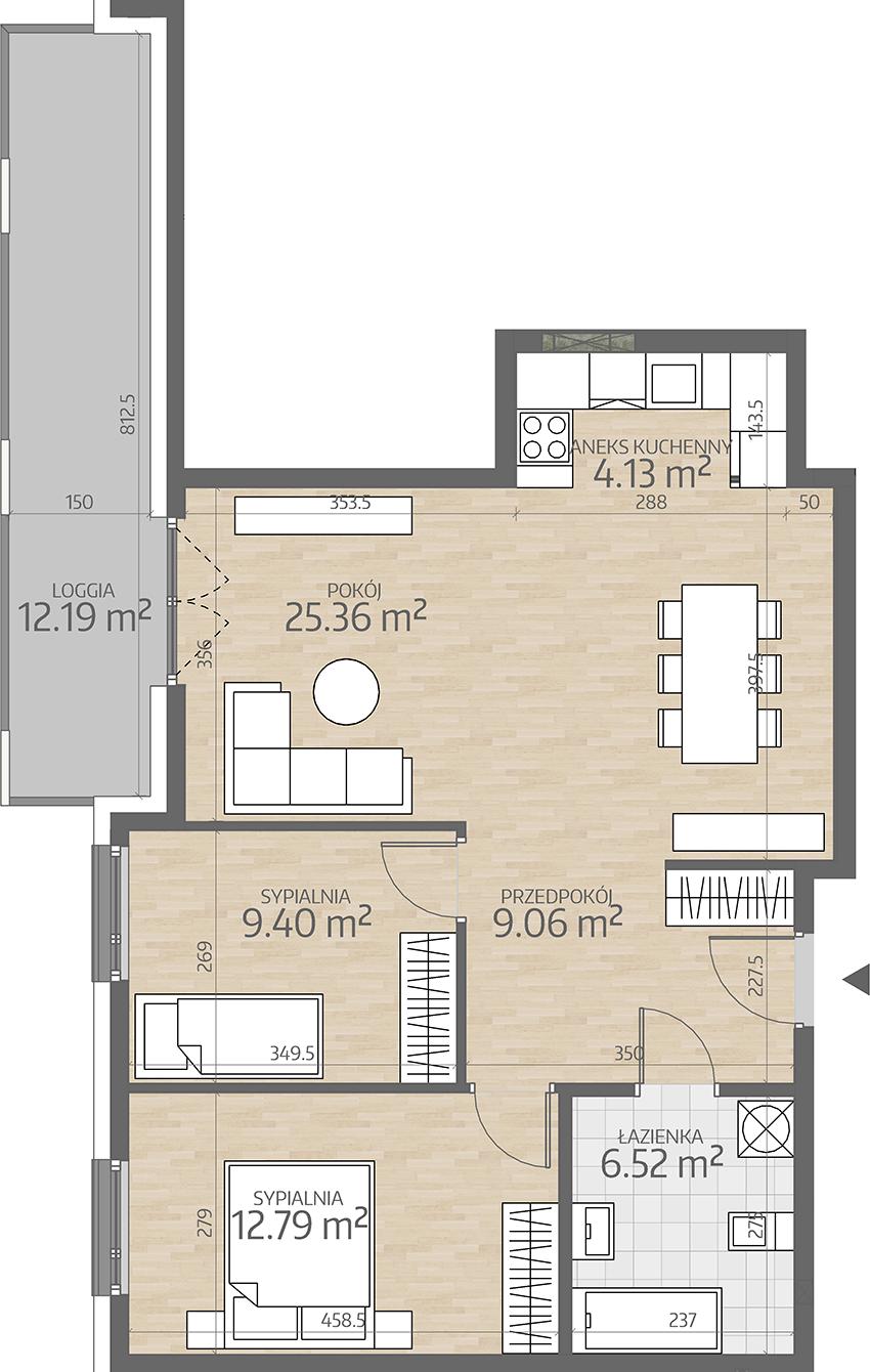rzut mieszkania numer 81
