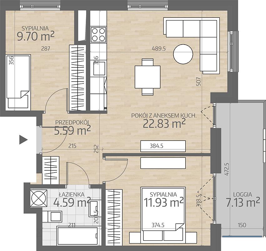 rzut mieszkania numer 84