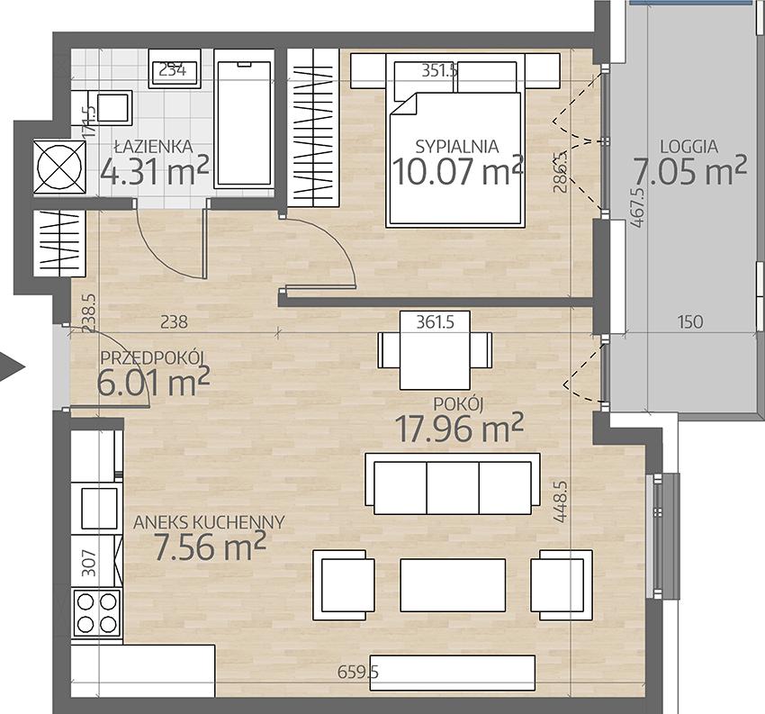 rzut mieszkania numer 85