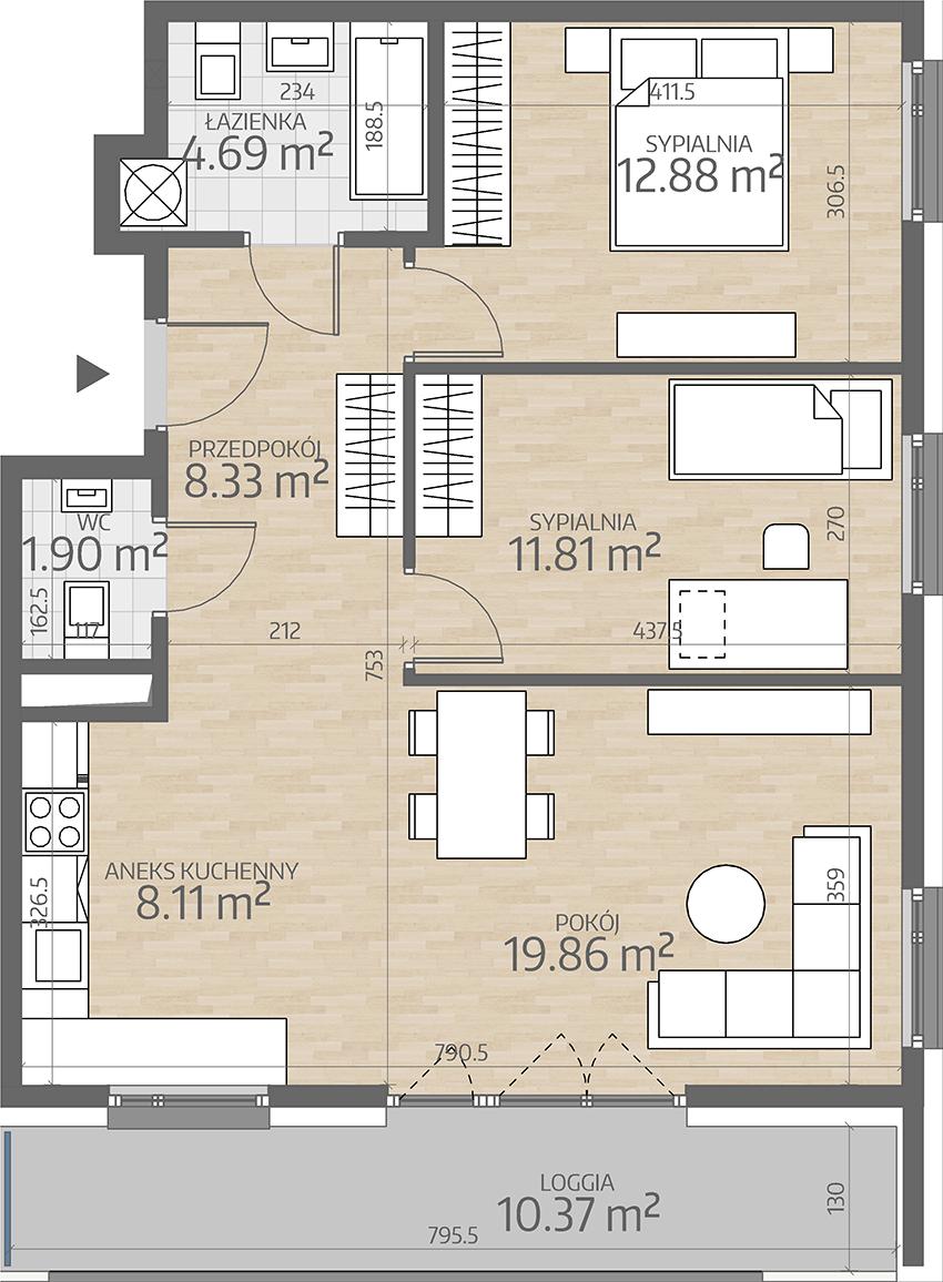 rzut mieszkania numer 88