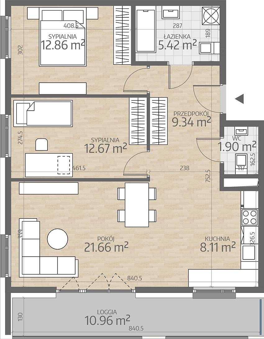 rzut mieszkania numer 89